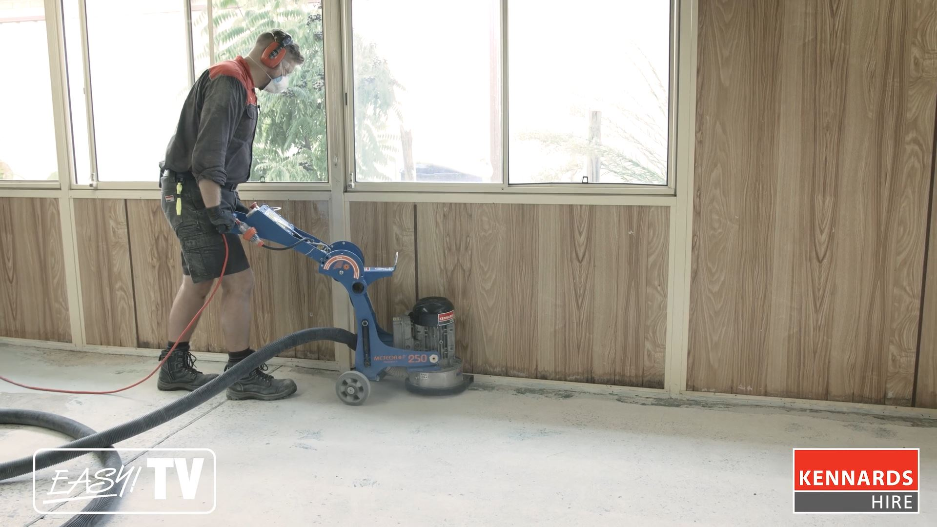 Use the grinder edger along the walls